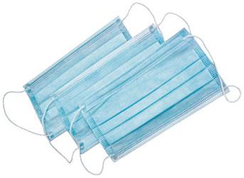 Маски медицинские 3-слойные с носовым фиксатором в п/э голубые 50шт