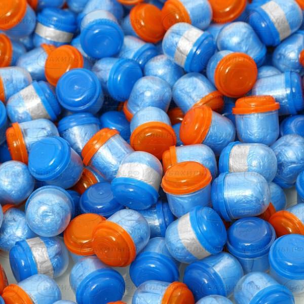 Бахилы EleGreen Стандарт двойные (бело-голубые) в капсулах 28 мм
